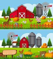 Två scener på gården med många djur