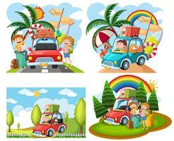Sets von Roadtrip-Szenen vektor