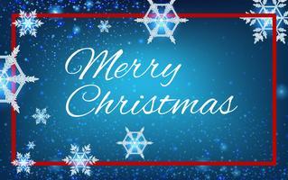 God julkortsmall med snöflingor i blå himmel