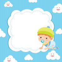 Fahnenschablone mit Baby auf blauem Hintergrund