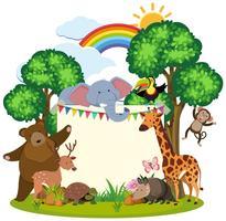 Grenzschablone mit netten Tieren im Garten vektor