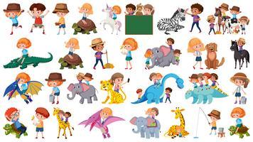 Set von Tier und Kinder vektor