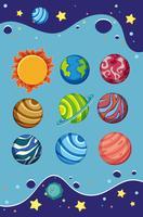 Eine Reihe von Sonnensystemen