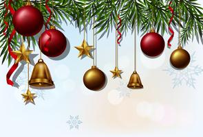 Bakgrundsmall med julbollar och klockor