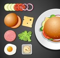 En uppsättning av Burger Element vektor