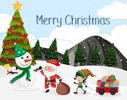 Merrry Christmas-Schneeszene vektor