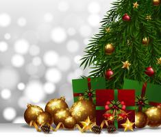 Bakgrund med guldkula och julklappar vektor