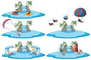 Sats med olika sportskyltar över vatten