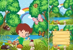 Scener med barn i skogen vektor