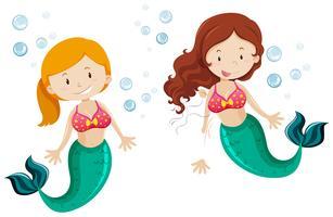 Nette Meerjungfrau zwei, die unter Wasser schwimmt vektor