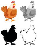 Set med kyckling karaktär