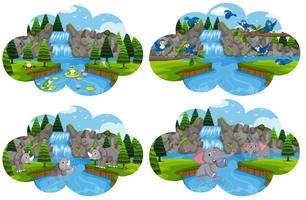 Set av djur vid flodscenen vektor