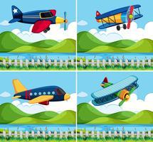 Hintergrund vier mit Flugzeugfliegen vektor