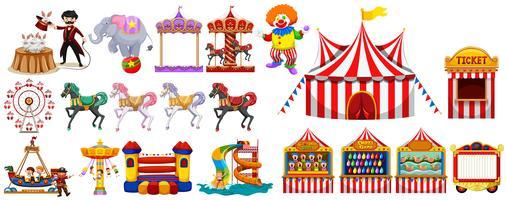 Olika föremål från cirkusen