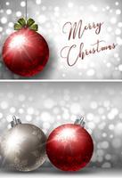 Två julkortsmallar med silver och röd boll vektor