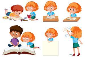 Reihe von Studenten lernen vektor