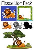 Ein Rudel wilder Löwen vektor