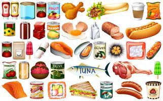 Sats med mycket mat vektor