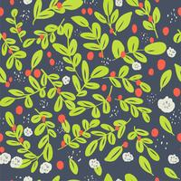 Nahtloses ditsy Blumenmuster mit hellen bunten Blumen und Blättern auf schwarzem Hintergrund in der naiven Volksart. Sommerschablone für Modedrucke im Vektor.
