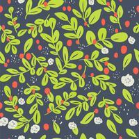 Seamless ditsy blommönster med ljusa färgglada blommor och blad på svart bakgrund i naiv folk stil. Sommar mall för modeutskrifter i vektor. vektor