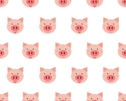 Vector Illustration von den netten Gesichtsschweinen, die auf weißem Hintergrund lokalisiert werden.