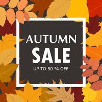 Herbstverkaufs-Fahnenschablone mit buntem Fall verlässt Hintergrund