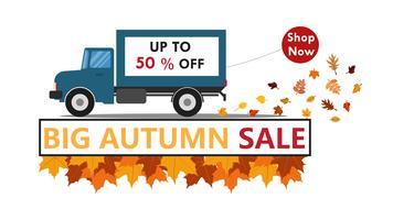 Vector Illustration des Herbstes für Verkaufsfahnen-Hintergrundschablone mit LKW