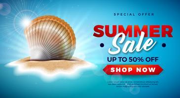 Sommerschlussverkauf-Design mit Shell auf Tropeninsel-Hintergrund. Vektor-Sonderangebot-Illustration mit blauer Ozean-Landschaft für Kupon