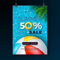 Sommarförsäljning affischdesign mall med flottör, strandboll och tropiska palmblad på blå poolbakgrund. Exotisk blom vektor illustration med specialtyp typografi för kupong