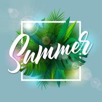 Sommer-Illustration mit Typografie-Buchstaben und tropischen Palmblättern auf blauem Hintergrund. Vektor-Feiertags-Design mit exotischen Pflanzen und Phylodendron
