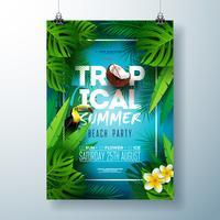 Tropischer Sommer-Strandfest-Flieger-Entwurf mit Blume, Kokosnuss, Palmblättern und Tukanvogel auf blauem Hintergrund. Vektor-Sommer-Feier-Designschablone mit Naturflorenelementen