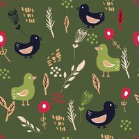 Enkla skandinaviska fåglar mönster primitiva vektor