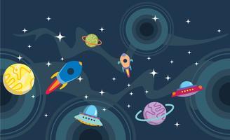 Dunkler Planetscape-Hintergrund-Vektor