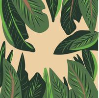 Hand gezeichneter nahtloser Mustervektor des tropischen Blattes
