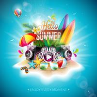 Vektor Hello Summer Holiday Illustration med typografi Brev och Vintage Wood Board på blå bakgrund. Tropiska växter, blomma, strandboll, högtalare och solskydd på paradisön