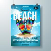 Vektor-Sommerfest-Flieger-Design mit buntem Flipflop und Tropeninsel auf Ozean-Blau-Hintergrund. Sommerferien Feier Entwurfsvorlage