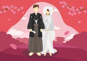Japan Bröllopspar Vector Flat Illustration
