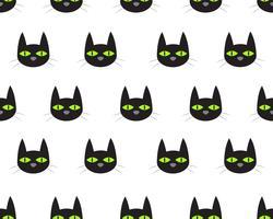Sömlöst mönster av sött ansikte svart katt på vit bakgrund vektor