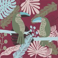 Hand gezeichneter tropischer Tukan und Blattmustervektor