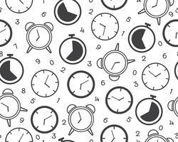 Nahtloses Muster der Zeitschaltuhrikone mit Zahl auf weißem Hintergrund - Vector Illustration