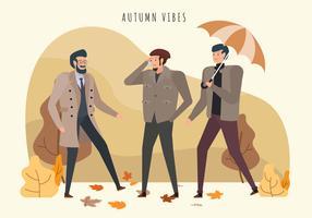 Moderner Autumn Man Outfits Vector Illustration