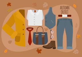 Autumn Man Fashion Essentials-Satz-Vektor-Illustration