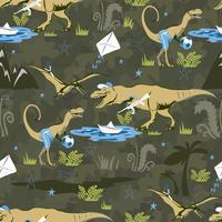 Spela Lover Dinosaur Sömlös mönster för barnens mode. Barnsig bakgrund med söta dinosaurier.