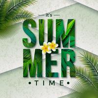 Vektor-Sommerzeit-Illustration mit Typografie-Buchstaben und tropischen Palmblättern auf Natur-Grün-Hintergrund. Exotische Pflanzen und Blumen für Urlaub Banner