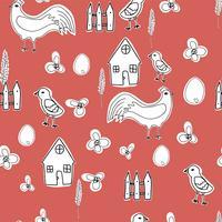 Glückliche Hennenzeichentrickfilm-figur in den verschiedenen Haltungen lokalisiert. Flache Illustration des Hennen- und Hahnvektors. Netter und lustiger bunter Satz