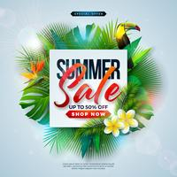 Sommarförsäljning Design med blomma, strandferieelement och exotiska löv på blå bakgrund. Tropisk blom vektor illustration med specialtyp typografi för kupong