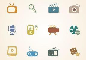 Multimedia Aufkleber Icons Vektor