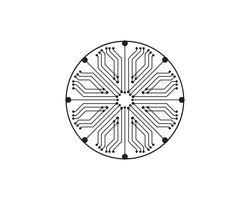 Stromkreisillustrationsdesignvektorsymbol-Logotechnologie