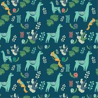 Abbildung mit Lama und Kaktuspflanzen. Vektornahtloses Muster auf botanischem Hintergrund. Grußkarte mit Alpaka. Nahtloses Muster