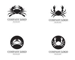 krabba silhuetter på den vita bakgrunden ikoner vektor